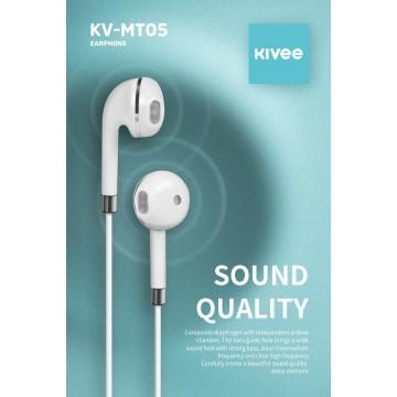 KIVEE MT05W earphone 3.5mm 1.2M  White