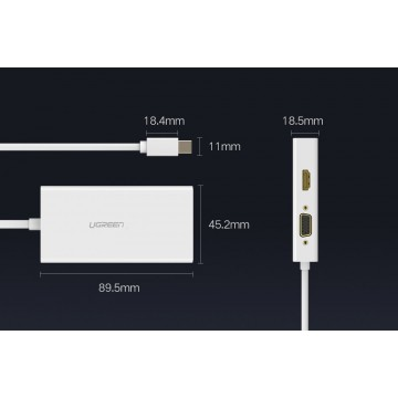 UGREEN 20417 Mini Dp to HDMI&VGA&DVI converter13.3CM--Silver